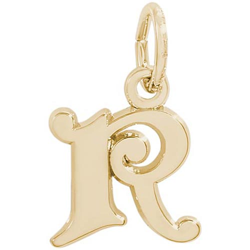 14K Gold Curly Initial R Accent Charm by Rembrandt Charms