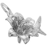 14K White Gold Hibiscus and Hummingbird Charm by Rembrandt Charms