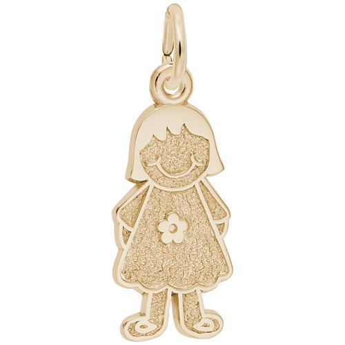 14k Gold Girl in Flower Dress Charm by Rembrandt Charms