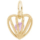 Gold Plated Heart Oct Birthstone Charm by Rembrandt CharmsEmbrace Love Charm 10 October by Rembrandt Charms