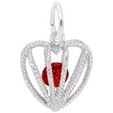 14K White Gold Embrace Love Charm 01 January by Rembrandt Charms