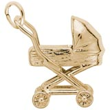 Gold Plate Baby Carriage Charm by Rembrandt Charms