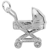 14K White Gold Baby Carriage Charm by Rembrandt Charms