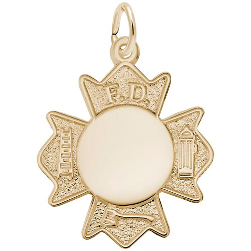 14k Gold Fire Department Badge Charm by Rembrandt Charms