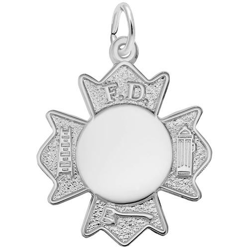14K White Gold Fire Department Badge by Rembrandt Charms