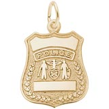 Gold Plated Police Badge Charm by Rembrandt Charms