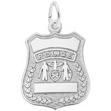 14k White Gold Police Badge Charm by Rembrandt Charms