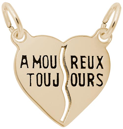 14K Gold Amoureux Toujours Heart Charm by Rembrandt Charms