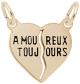 Rembrandt Amoureux Toujours Heart Charm, Gold Plate