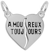 Sterling Silver Amoureux Toujours Heart Charm by Rembrandt Charms
