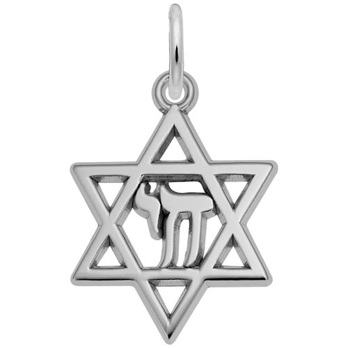 14K White Gold Star of David Charm by Rembrandt Charms