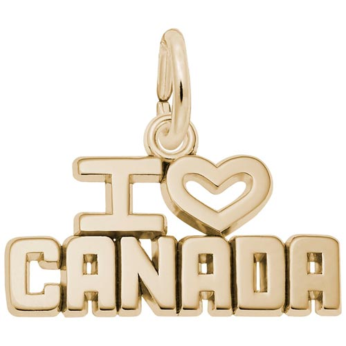 14K Gold I Love Canada Charm by Rembrandt Charms