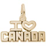 Gold Plate I Love Canada Charm by Rembrandt Charms