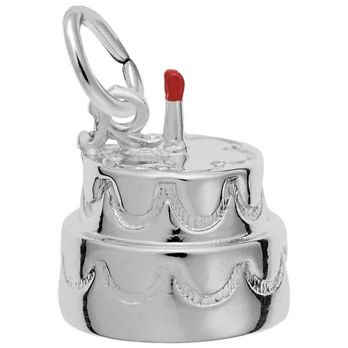 14K White Gold Two-Tier Birthday Cake Charm by Rembrandt Charms