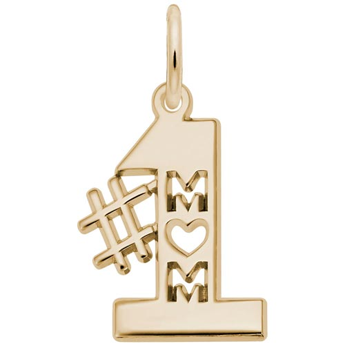 Gold Plated Number One Mom Charm by Rembrandt Charms