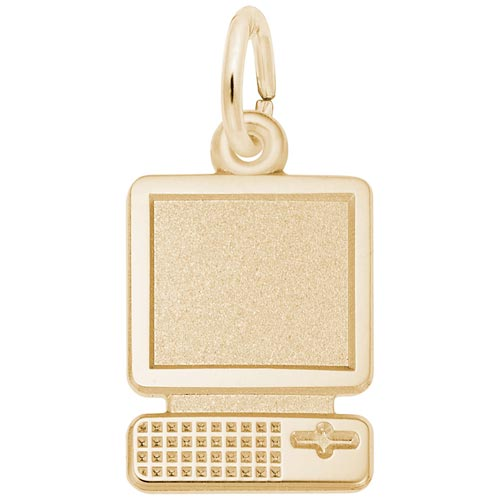 Gold Plated Flat Desktop Computer Charm by Rembrandt Charms