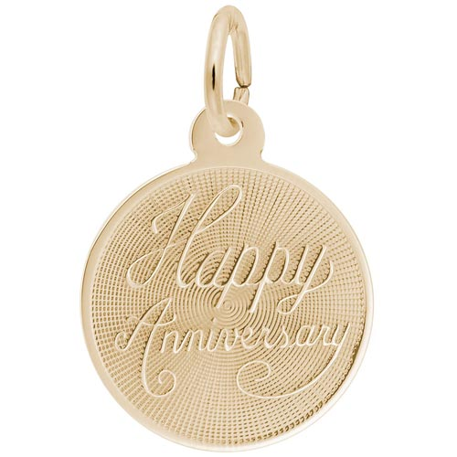 Gold Plated Small Happy Anniversary Disc by Rembrandt Charms