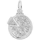 14K White Gold Pizza Pie Charm by Rembrandt Charms