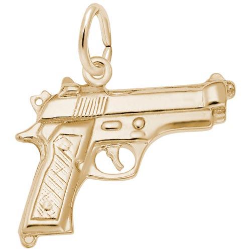 14k Gold Gun, Pistol Charm by Rembrandt Charms