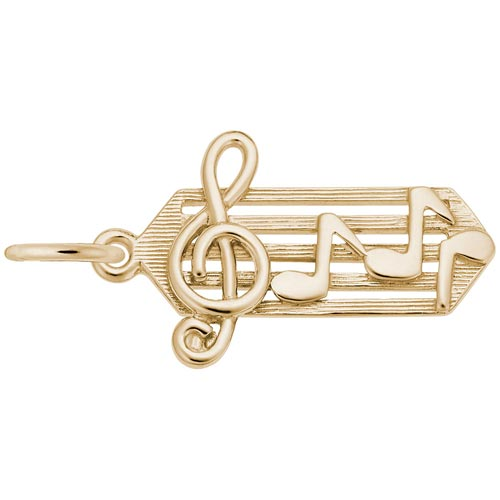 Gold Plate Small Music Staff Charm by Rembrandt Charms