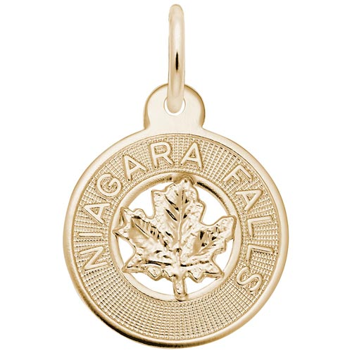Gold Plate Niagara Falls Maple Leaf Charm by Rembrandt Charms