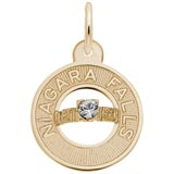 Gold Plate Niagara Falls Wedding Charm by Rembrandt Charms