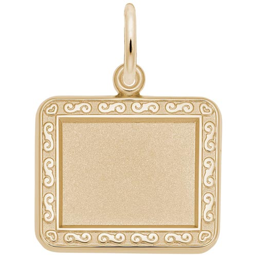 14K Gold Rectangle Scroll PhotoArt® Charm by Rembrandt Charms