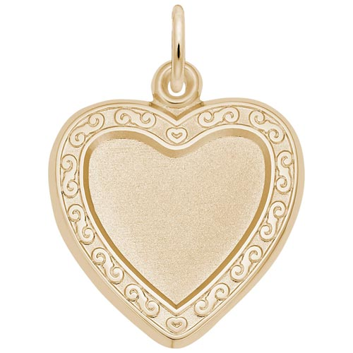 14K Gold Heart Scroll PhotoArt® Charm by Rembrandt Charms