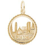 Gold Plated Boston Skyline Charm by Rembrandt Charms