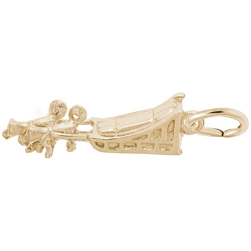 14K Gold Dog Sled Charm by Rembrandt Charms