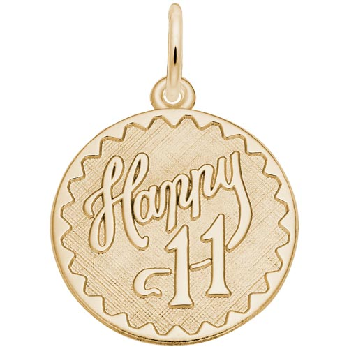 14k Gold Happy 11 Birthday Charm by Rembrandt Charms