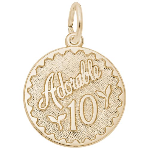 Gold Plate Adorable 10 Birthday Charm by Rembrandt Charms