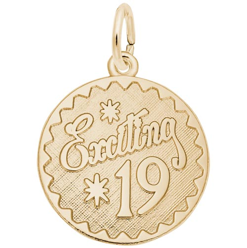 14k Gold Exciting 19 Birthday Charm by Rembrandt Charms