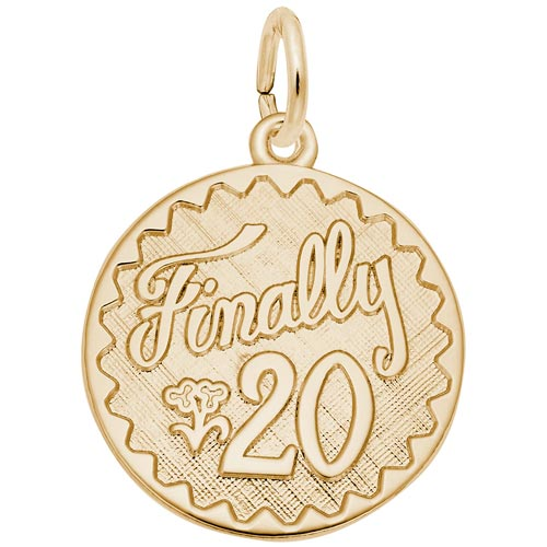 14k Gold Finally 20 Birthday Charm by Rembrandt Charms