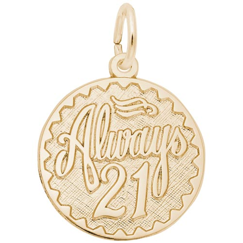 14k Gold Always Twenty One Disc Charm by Rembrandt Charms