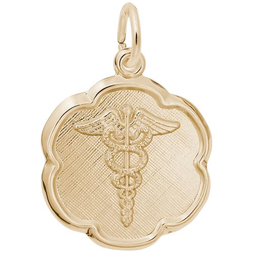 Gold Plated Caduceus Scalloped Disc Charm by Rembrandt Charms