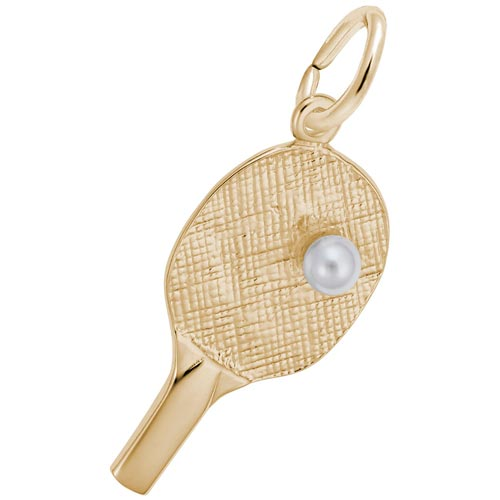 14k Gold Ping Pong Paddle & pearl by Rembrandt Charms