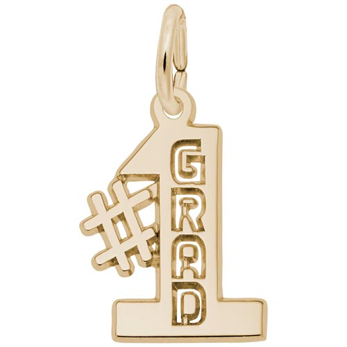 14k Gold Number One Grad Charm by Rembrandt Charms