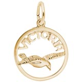 10K Gold Victoria Bird Open Disc Charm by Rembrandt Charms