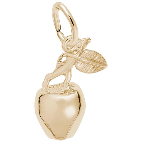 14K Gold Apple with Stem Charm by Rembrandt Charms