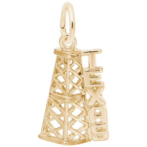 Gold Plate Texas Oil Derrick Charm by Rembrandt Charms
