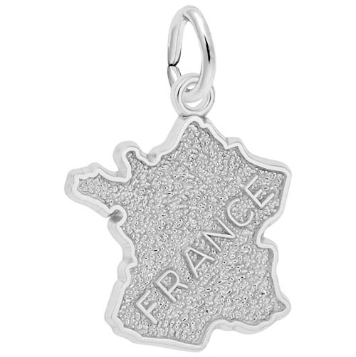 14K White Gold France Map Charm by Rembrandt Charms