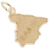 Gold Plated Spain Map Charm by Rembrandt Charms