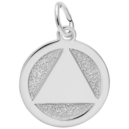 14K White Gold AA Alcoholics Anonymous Charm by Rembrandt Charms