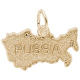 Gold Plated Russia Map Charm by Rembrandt Charms