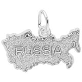 14K White Gold Russia Map Charm by Rembrandt Charms