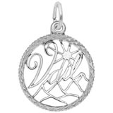14K White Gold Vail, Colorado Faceted Charm by Rembrandt Charms