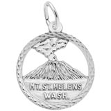 14K White Gold Mt. St. Helens Washington Charm by Rembrandt Charms