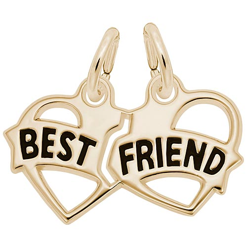 10K Gold Best Friends Heart Charm by Rembrandt Charms