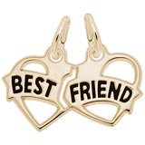 Gold Plated Best Friends Heart Charm by Rembrandt Charms